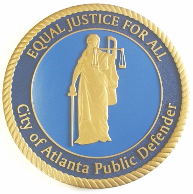 HP-1240- Carved Plaque of the Seal of the  City of Atlanta, Public Defender, Painted Gold Metallic