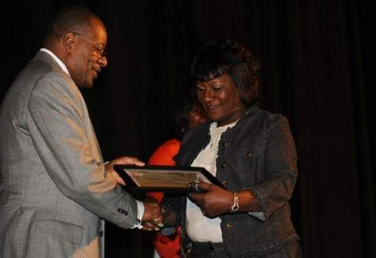 Our Founder acceptance of the Amy K. Stubbs, YWCA Dream Catcher Award