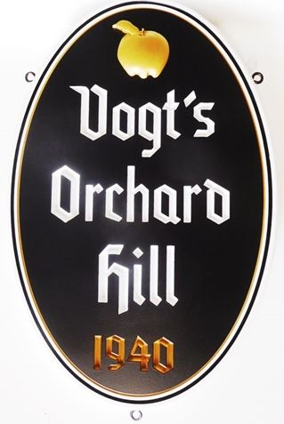 "I18219 - Carved High-Density-Urethane (HDU)  Property Name  Sign ""Vogt's Orchard Hill"", 2.5D with an Artist-Painted Apple and Text"
