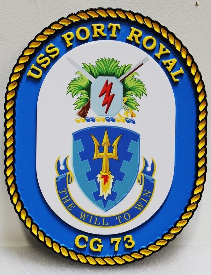 JP-1300 - Carved 2.5-D HDU Plaque of the Crest of the USS Port Royal, CG 73, US Navy Guided-Missile Frigate