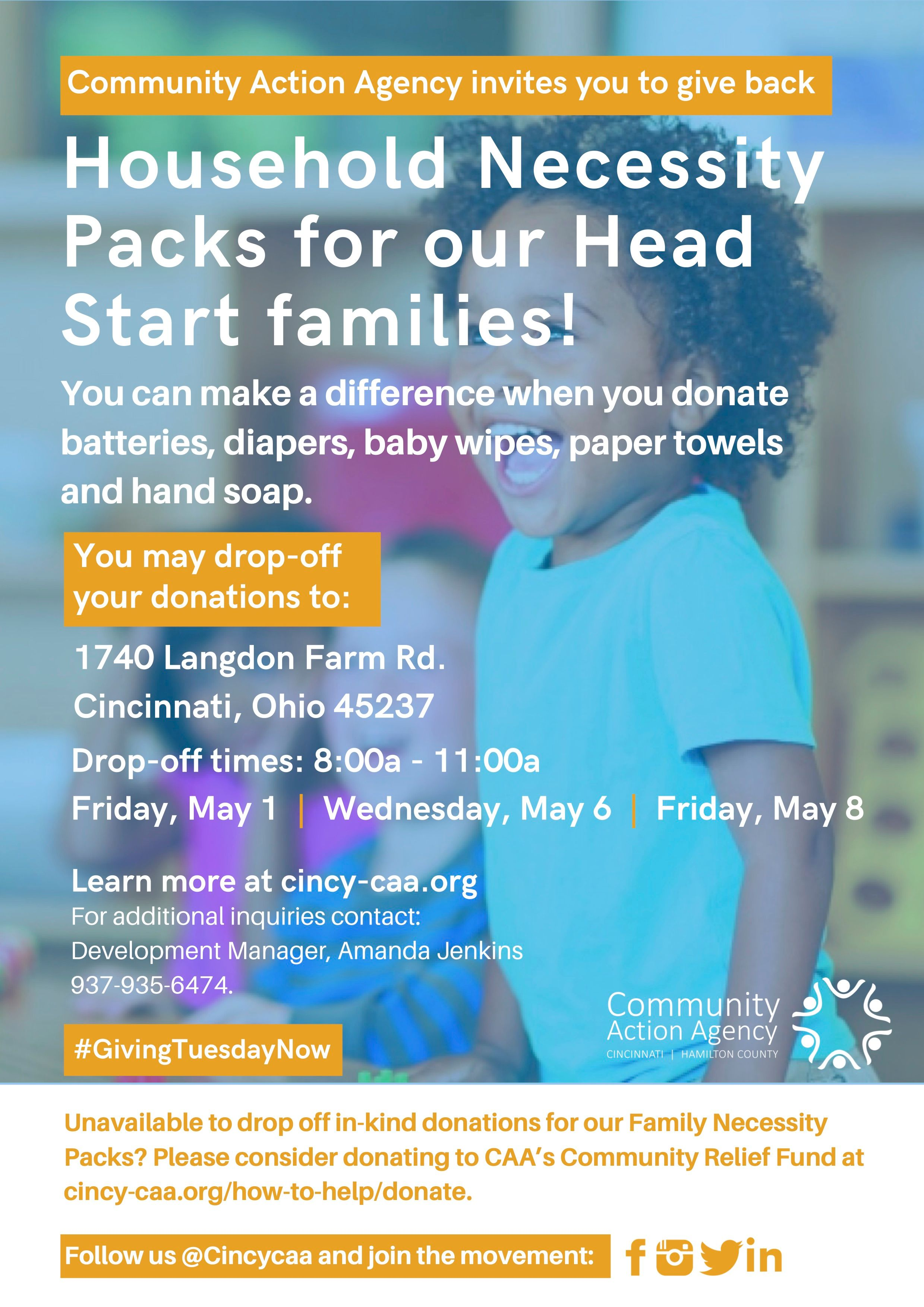 Donation Drive for Household Necessity Packs for Head Start Families