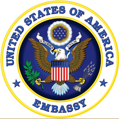 U30320 - US State Department Embassy Seal Carved Wood Wall  Plaque
