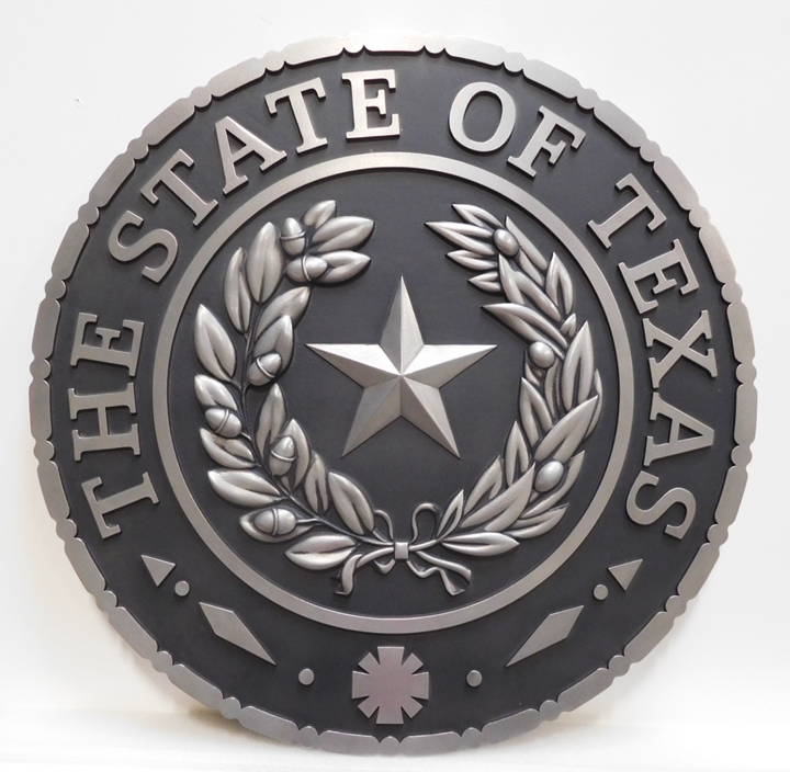 BP-1517- Carved Plaque of the Great Seal of the State of Texas, Aluminum-Plated
