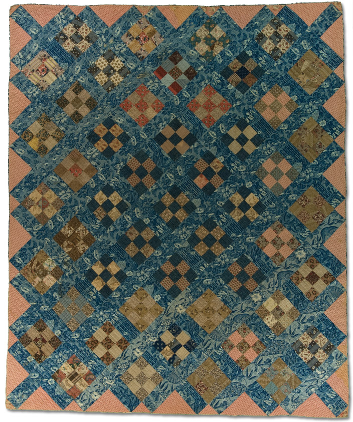 Nine Patch, Maker unknown, Circa 1830 – 1850, Probably made in the United States, 92.25 x 76.75 inches, IQSCM 2008.040.0008, Byron and Sara Rhodes Dillow Collection