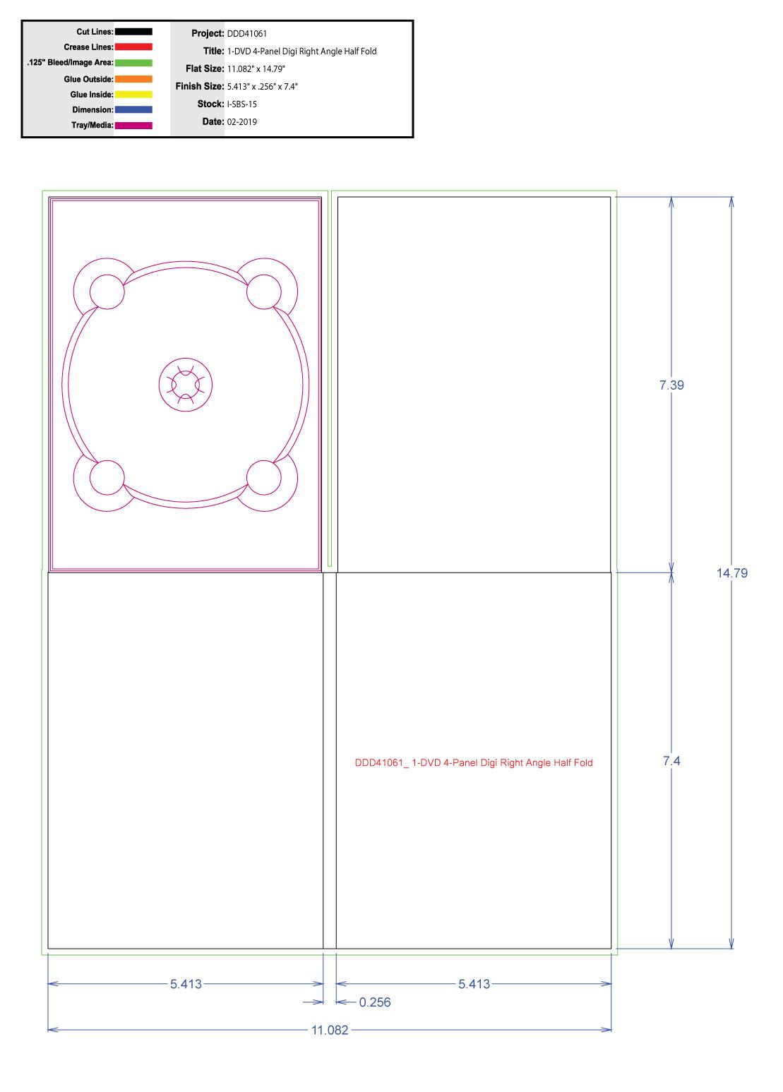 DDD41061 DVD 4 Panel Digi 1 Tray, No Pocket