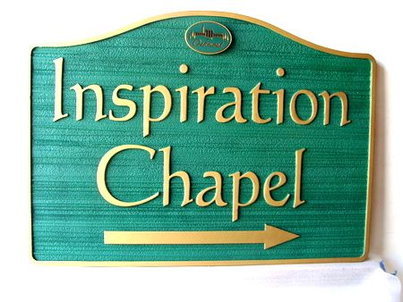 GC16355 - Carved High-Density-Urethane (HDU) Sign for the Inspiration Chapel in  the Oakmont Cemetery.