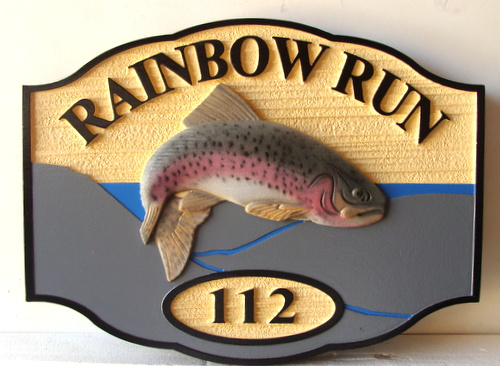M22560 - Carved Wood Cabin Sign with 3-D Carved Rainbow Trout