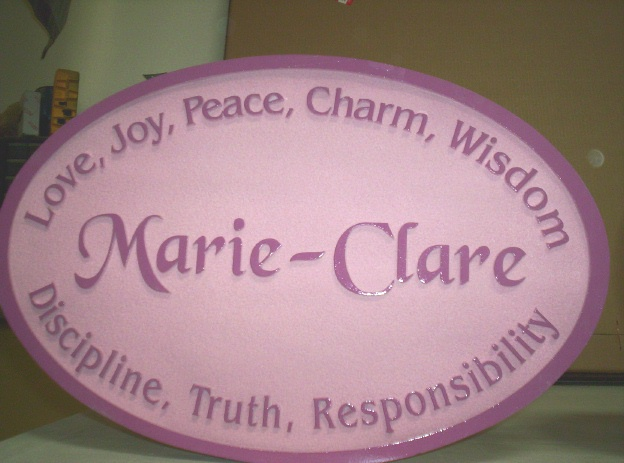 N23014 - Girl's Room Plaque, with Her Name and Personal Characteristics