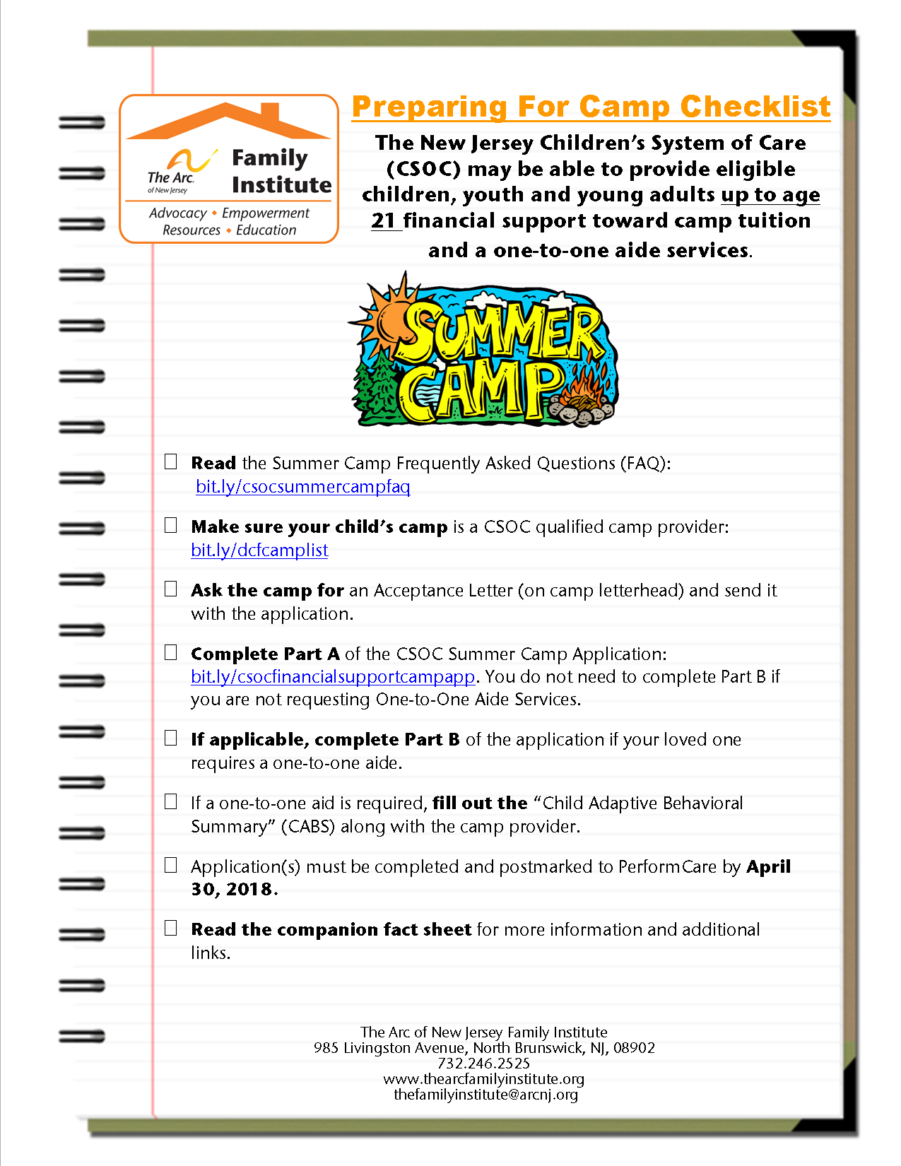 Summer Camp Application: A Checklist