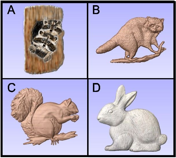 M22993 - Carved 3D Wood Appliques of Raccoons, Rabbit, Squirrel