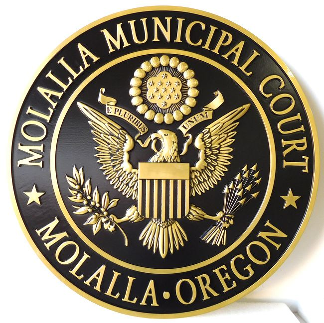 X33100 - Carved Brass Wall Plaque for Municipal Court of Mollala, Oregon, featuring US Eagle as Artwork