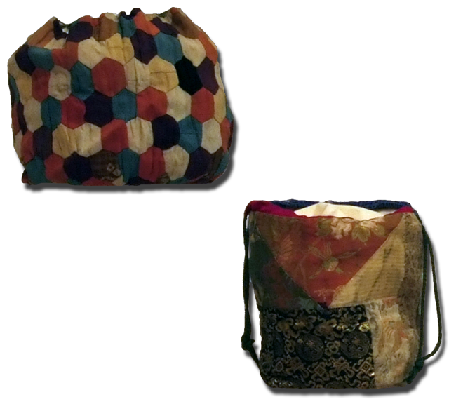 Komebukuro (rice bag), maker unknown, made in Japan, circa 1890, IQSCM 1998.003.0007 & 2009.017.0005