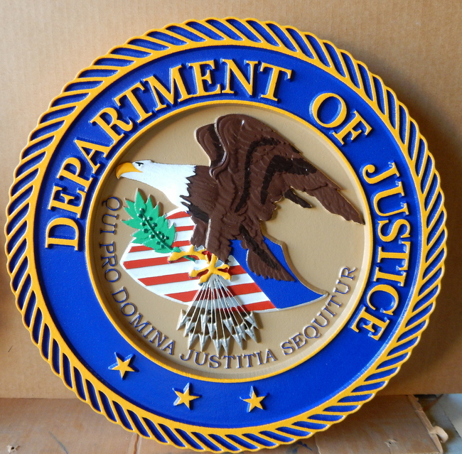 U30189 - Carved 3-D Wall Plaque of the Seal of the Department of Justice (Version 1)