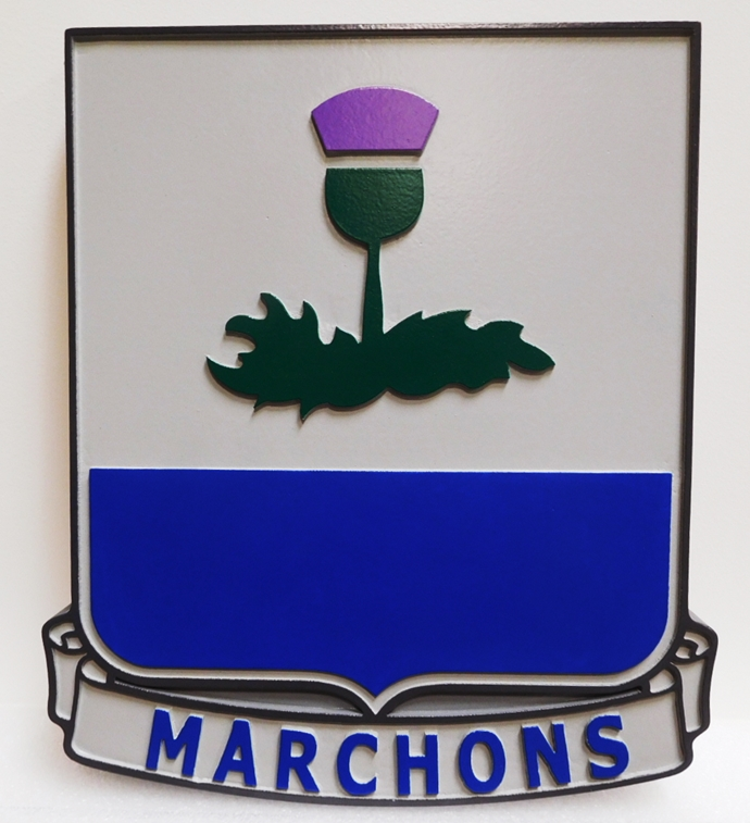 "MP-2078 - Carved Plaque of the Crest of the US Army 338th Regiment Advanced Individual Training Unit with Slogon  ""Marchons"" or ""March On"", Artist-Painted"