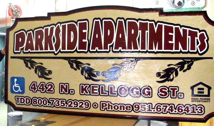 K20152 - Sandblasted Cedar Wood Parkside Apartments Entrance Sign