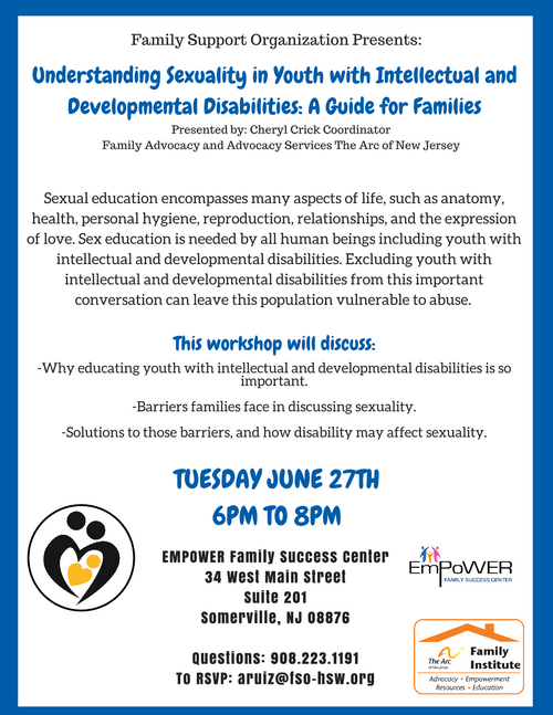 Free Workshop: Understanding Sexuality in Youth with Intellectual and Developmental Disabilities: A Guide for Families