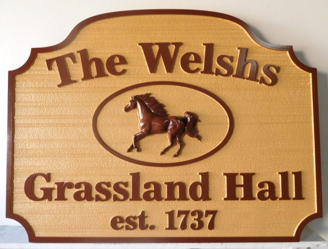 """P25124 - Carved  HDU Sign for Horse farm """"Grassland Hall"""" Carved in Woodgrain Pattern with 3-D Horse"""