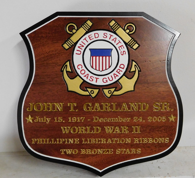 M3068 - Carved Mahogany, 24K Gold-Leaf  WW II Memorial Plaque for  Veteran of the Phillipine Liberation, U.S. Coast Guard Emblem (Gallery 31)