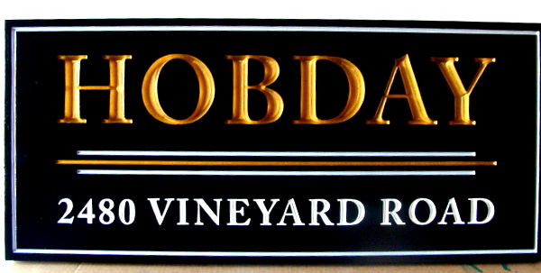 R27400 - Carved HDU 3D Address Sign, with Gold Leaf Letters