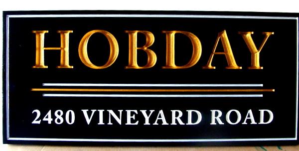 R27400 - Carved HDU 3D Address Sign, with Gold Leaf Letters