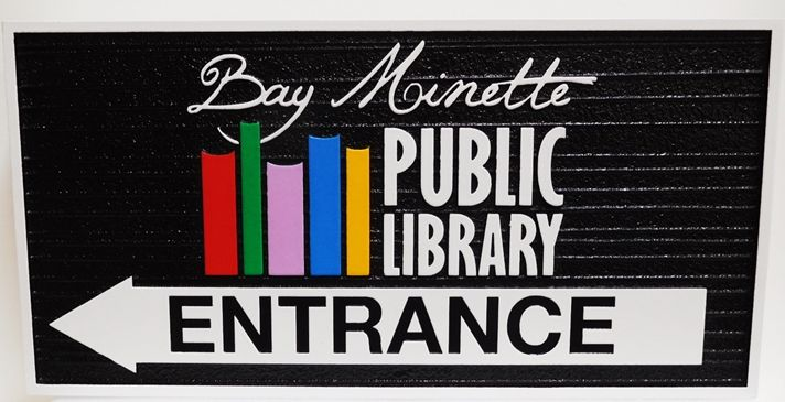 F15515 - Carved annd Sandblasted Wood Grain Entrance Sign  for the Bay Minette Public Library, with a Bookshelf and Books as Artwork