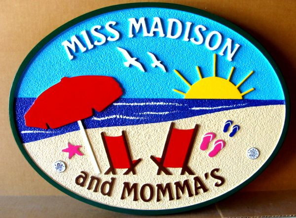 "L21031 – Carved 2.5D HDU Beach House Sign ""Miss Madison"" with Two Chairs facing Ocean"