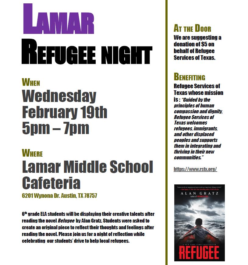 Lamar Middle School Refugee Night