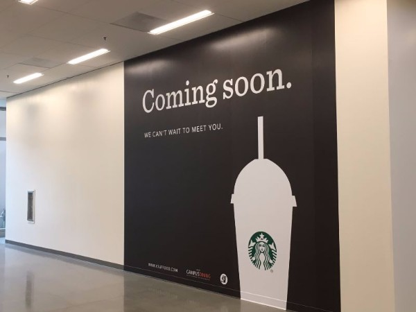 Teaser Wall Graphics Announce Starbucks Coming Soon Cal