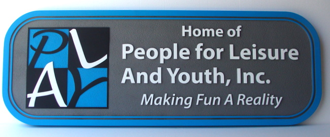 """SA28508 - Carved Sign for the """" People for Leisure and Youth"""" Company, with Logo """"Play"""""""
