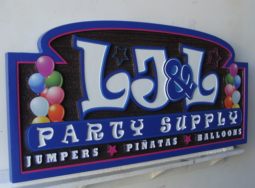 "M5026 - Carved HDU Party Supply Store Sign with Balloons, ""L, J and L"""