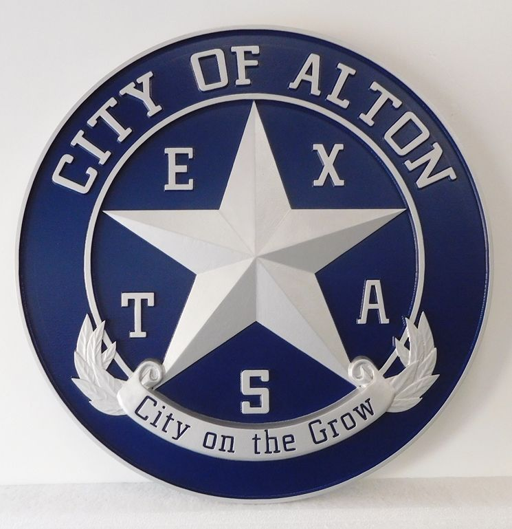 DP-1060 - Carved Plaque of the Seal of the City of Alton, Texas,  Artist Painted with Metallic Silver