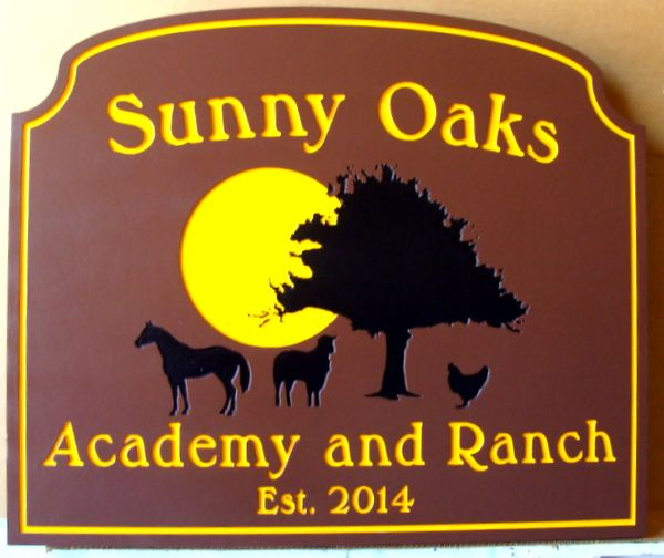 """024811 – Carved  Engraved HDU  Address Sign for """"Sunny Oaks Academy and Ranch"""", with Sun, Tree and Farm Animals"""
