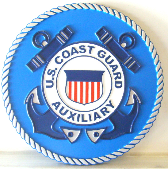 NP-1340 - Carved Plaque  of the  Seal of the US Coast Guard Auxiliary, Artist Painted