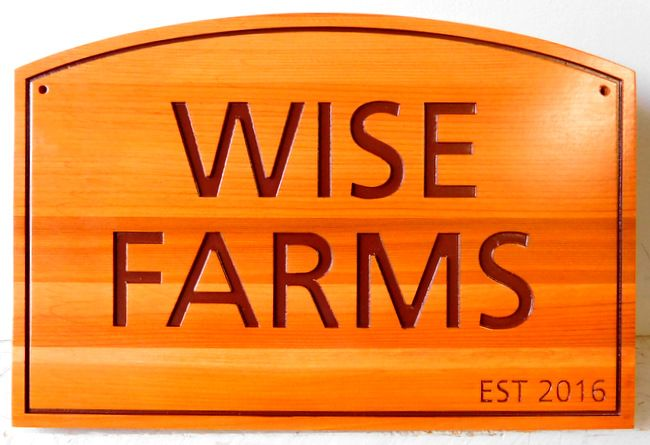 O24906 - Engraved Western Red Cedar Sign for Wise Farms
