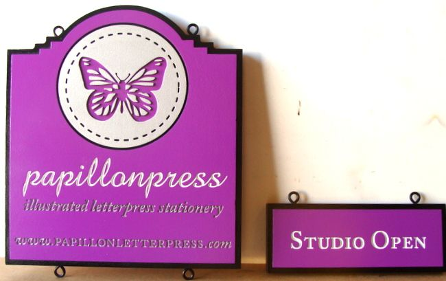 """SA28033 - Carved Sign for  """"Papillion"""" (Butterfly) Press Studio and  """"Studio Open"""" Sign"""