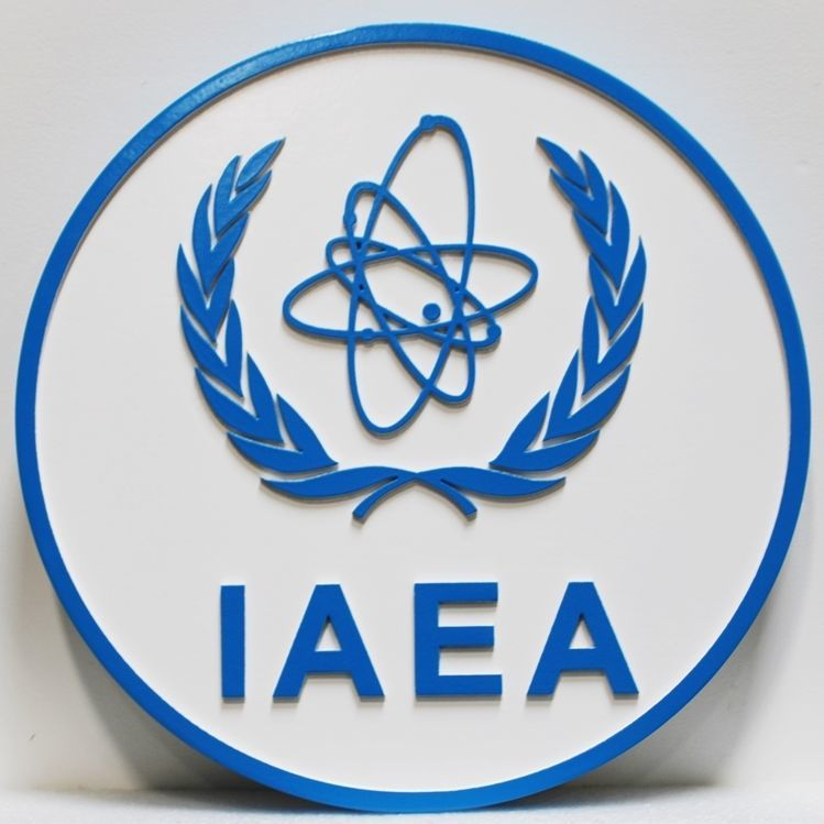 AP-6122 - Carved 2.50D HDU Plaque of the Seal of the International Atomic Energy Agency (IAEA)