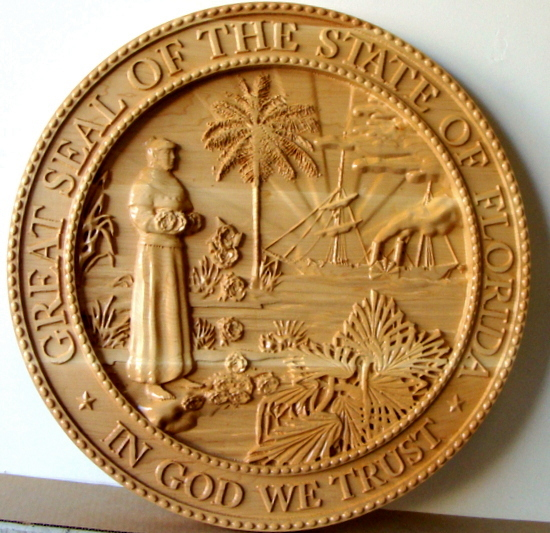 BP-1145- Carved Plaque of the  Great Seal of the State of Florida, Maple Wood