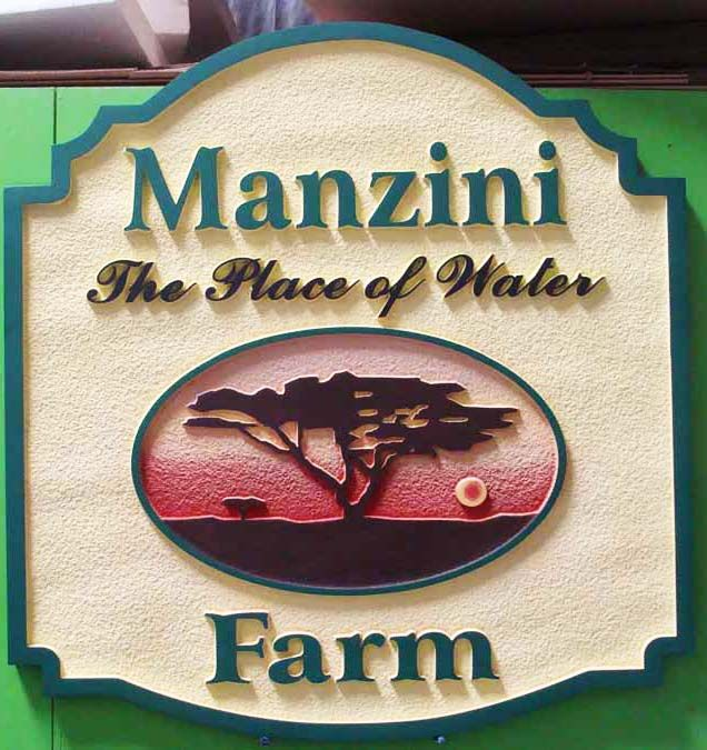 """O24894 - Sandblasted Farm Sign """"The Place of Water"""" with Carved Tree and Setting Sun"""