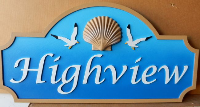"""L21525 - Carved  HDU  """"Highview"""" Name Sign with 3-D Carved Seashell and Carved Seagulls"""
