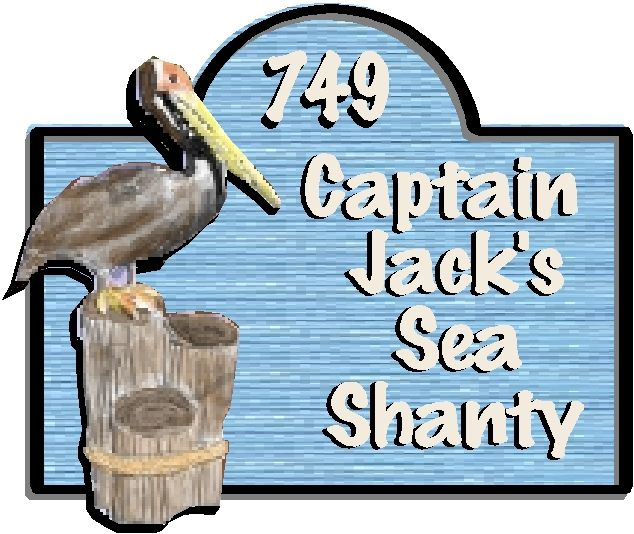 """L21605 - Carved and Sandblasted  HDU Sign for """"Sea Shanty"""" with 3-D Carved Pelican"""