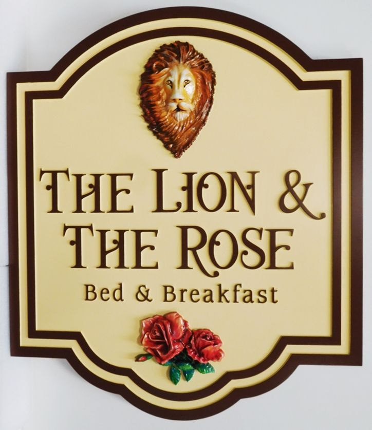 "T29026 - Carved HDU  Sign for the ""The Lion and the Rose""  B& B ,  3-D bas-Relief and Artist Painted Lion's Head and Roses as Artwork"