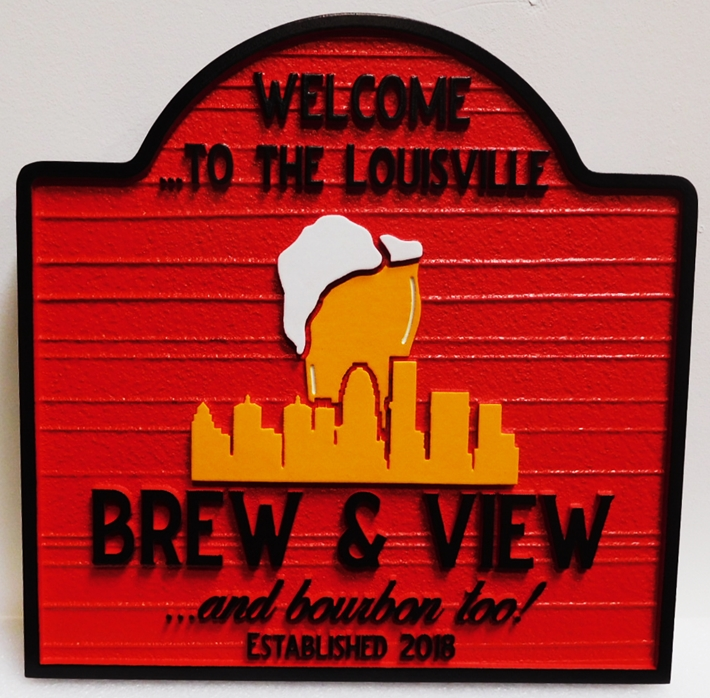 "RB27163  - Carvedand Sandblasted HDU  ""Brew & View""  Sign, 2.5-D Artist-Painted"