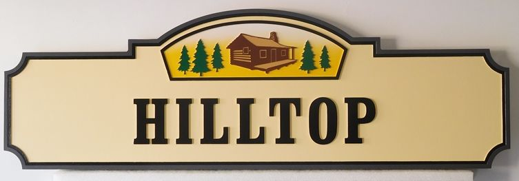 M22061 - Carved Outdoor Cabin Sign wit Cabin and Pine Trees as Artwork