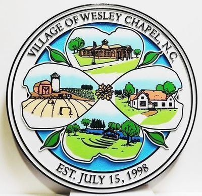 DP-2380 - Carved Plaque of the Seal of the City of Wesley Chapel. North Carolina, Engraved and Artist-Painted