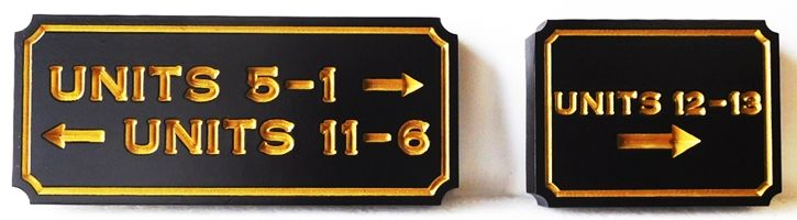 KA20848- Engraved Carved Unit Number Directional Sign for an Apartment Complex