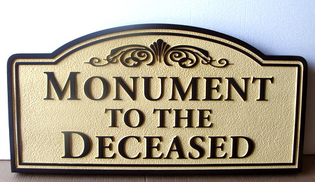 GC16988 - Carved Wooden Sign Monument to the Deceased