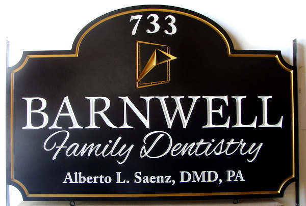 BA11552 - Elegant Carved HDU Family Dentistry Practice Sign