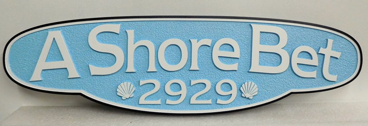"L21926- Carved and Sandblasted HDU Sign for Seashore Residence ""A Shore Bet""  with Two Seashells as Artwork"