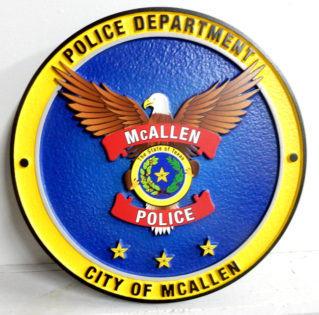 X33443 - Carved Wood Wall Plaque of the Seal of the Police Department, City of McClellan