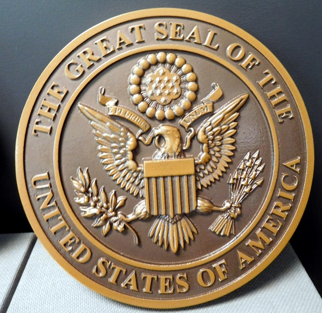 AP-1080 - Carved Plaque of the Great Seal of the United States, Artist Painted